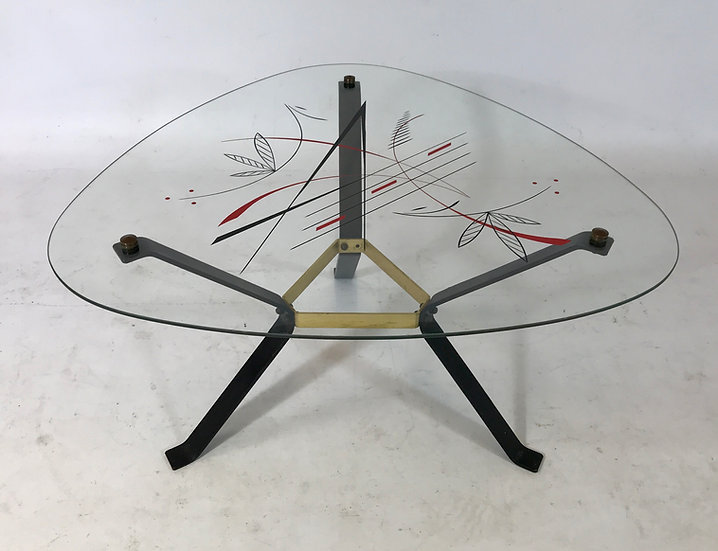 Black & Brass Side Table with triangular glass top