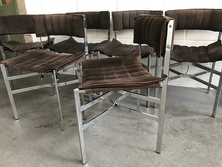Set of 6 Brown Suede Italian chairs from 1970