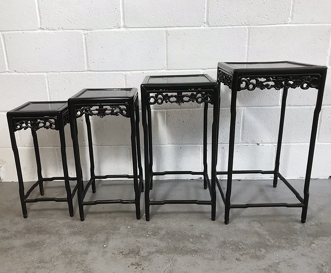 Chinese Padouk Wood Nest Of 4 Tables Original Distressed Black Lacquer