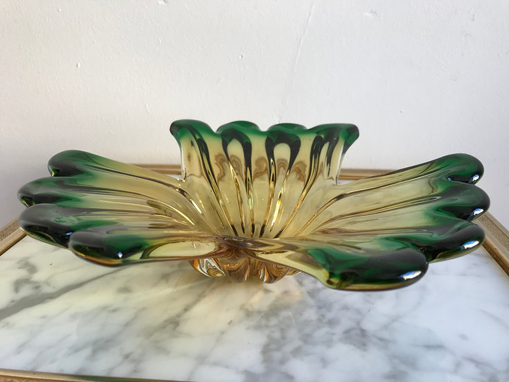SOLD - 1950s Murano Sommerso Glass Dish