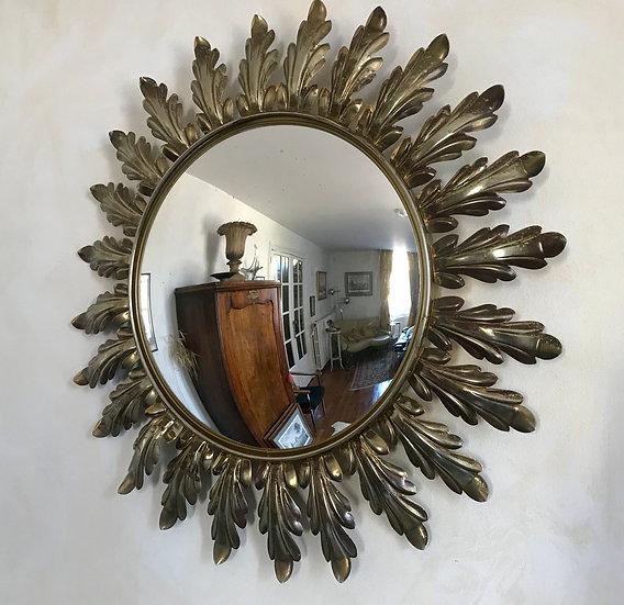 Brass Sunflower Convex Mirror