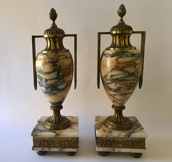 Pair of Gilt-Bronze and Siena Marble Garnitures