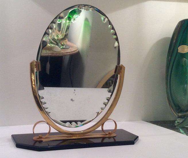 Gilded Dressing Table Mirror with Mirror Glass Base