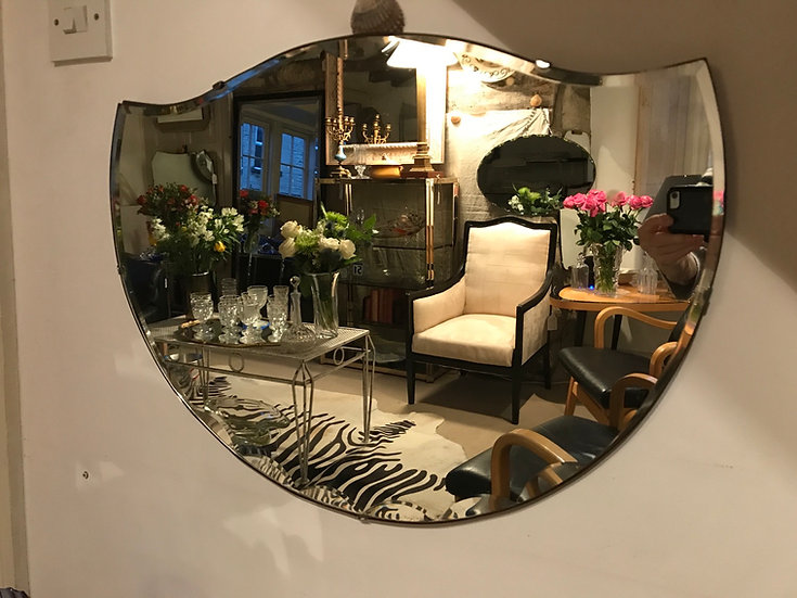 1940's Smiling Bevelled Mirror