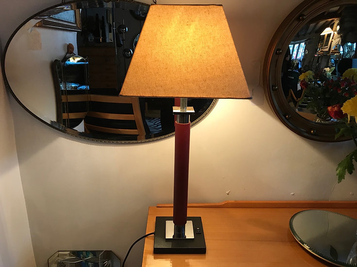 Beautiful 80's Red, Black and Chrome Tall Table Lamp