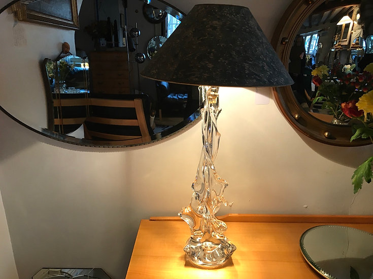 Beautiful Tall French Crystal Lamp Rewired 1940s