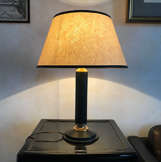 Leather Covered Table Lamp with Original Shade