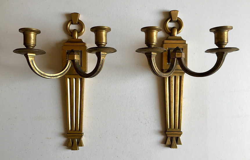 Art Deco Solid Brass(or maybe Bronze?) Wall Brackets