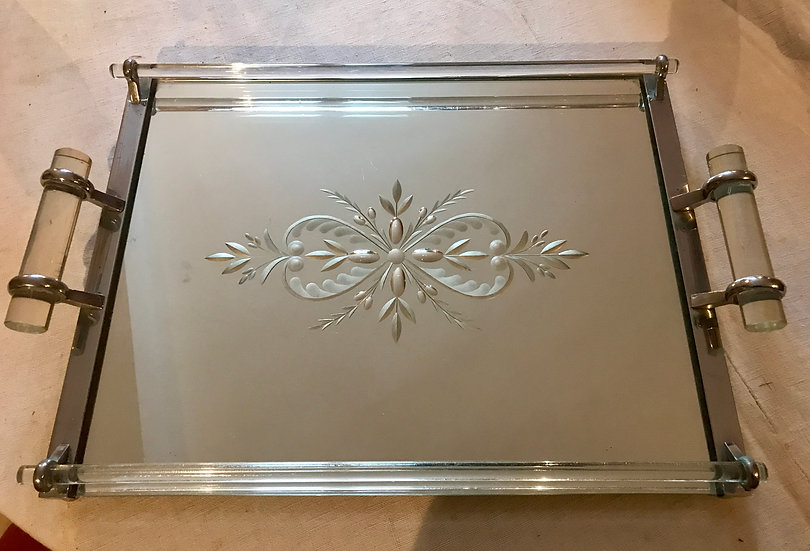 Heavy Mirror Tray with Glass Handles.