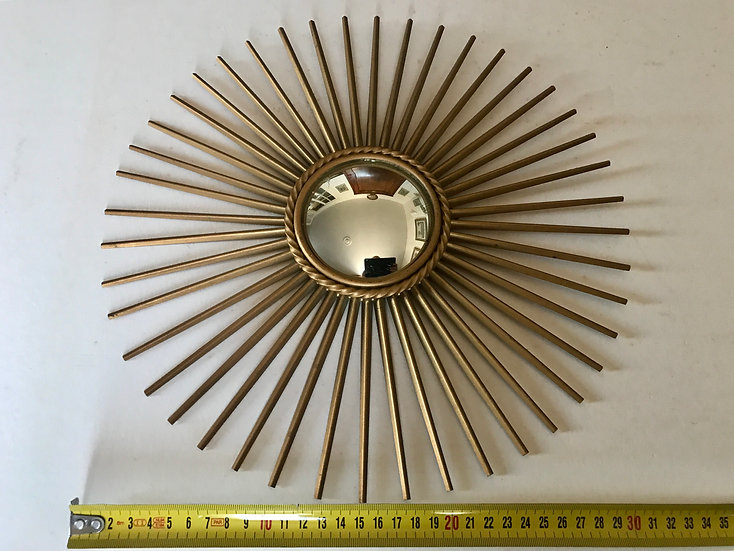 Miniature Chaty Vallauris Sunburst Mirror with Convex Glass