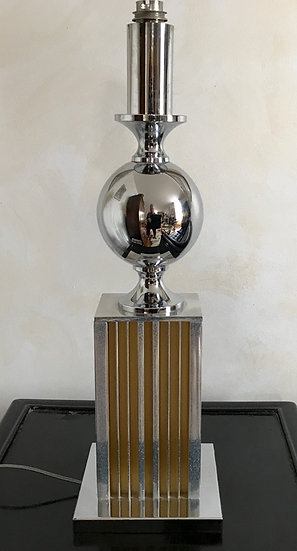 Chrome, Polished Aluminium and Brass Table Lamp