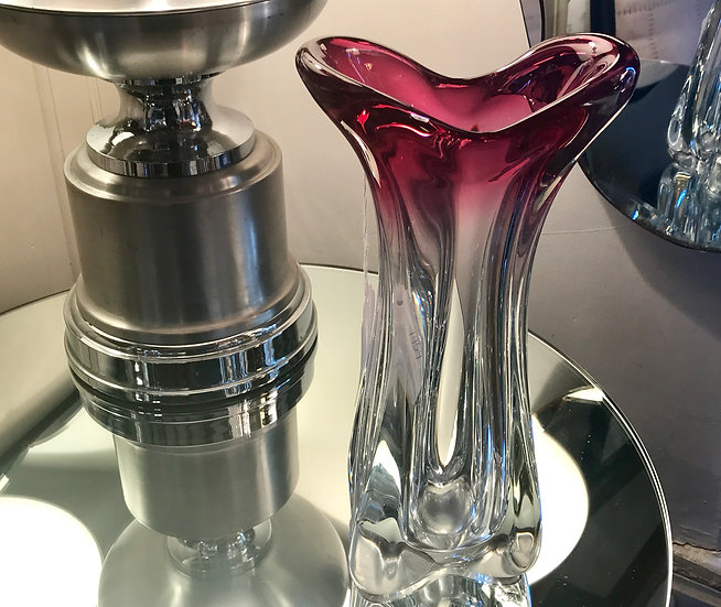 Pink Fading Clear Vannes Crystal Vase