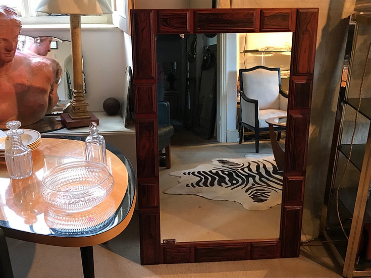 Large Rose Wood Swedish Mirror 1960 By Glas & Tra