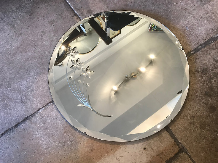 Beautiful Art Deco Mirror Bevelled & Back Cut With Flowers