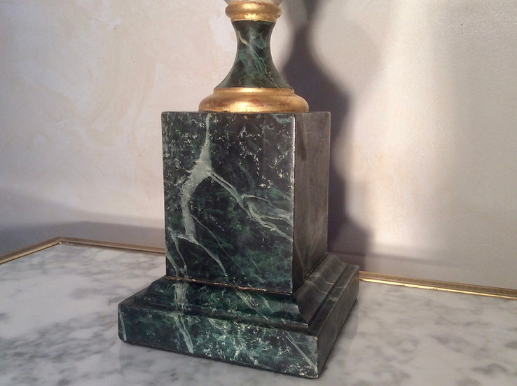 Marbled Wood Table Lamp