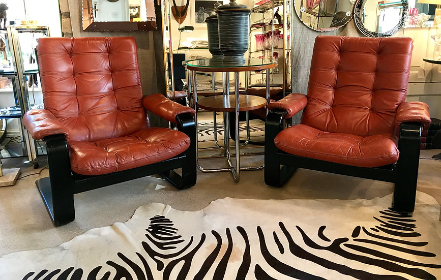 Pair of Swedish Red Leather Armchairs