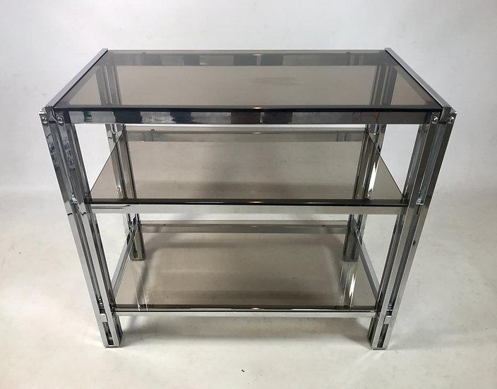 Three-Shelf Unit with Chrome Square Cluster Columns