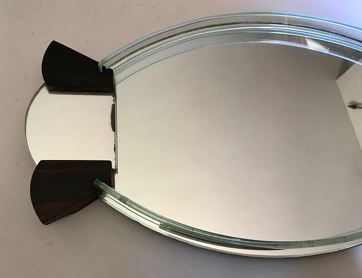 Fish-Tail Handled Deco Mirror Tray