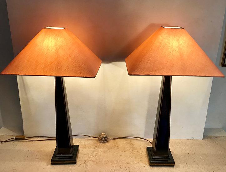 Pair of Black Ceramic Table Lamps.