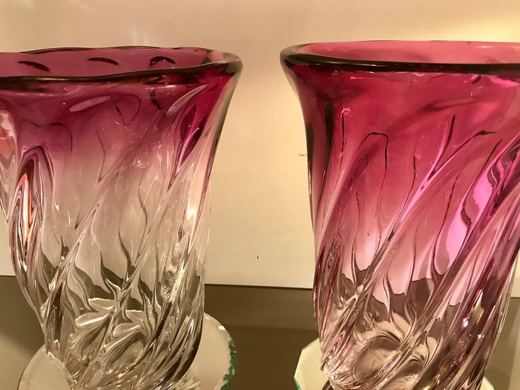 One Pink Fading Ribbed Twist VSL Vases