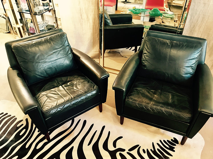 Pair of Danish Armchairs in Dark Green Leather