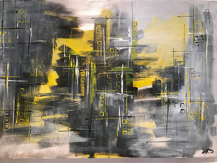 Acrylic Abstract Painting On Canvas (building site) Signed