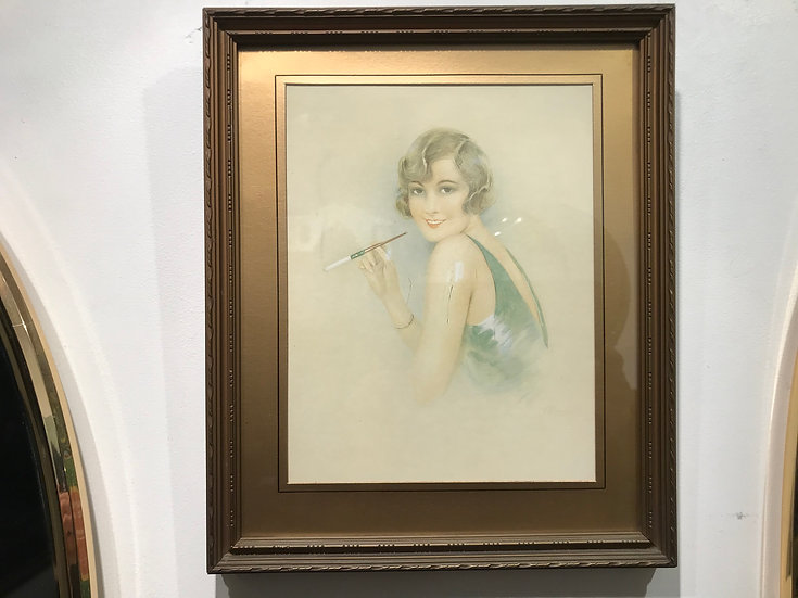 Stylish Lady 1930s Watercolour Original Framed and Signed