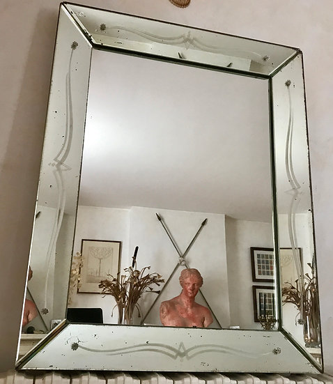 Rectangular Mirror with clear mirror bevelled frame