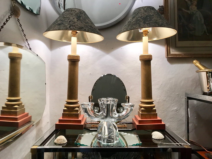 Two pairs of Gilded Wood Table Lamps.