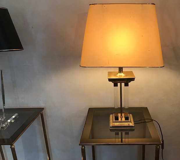 Brass Table Lamp with four Perspex Columns