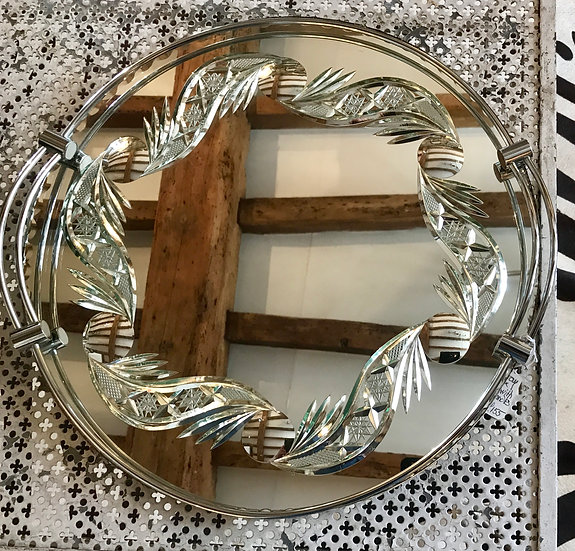 Circular Back-Cut Mirror Tray
