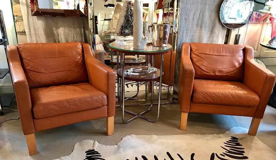 Pair Cognac Leather Armchairs