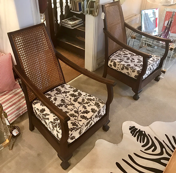 Pair of Cane and Oakleaf Fabric Armchairs