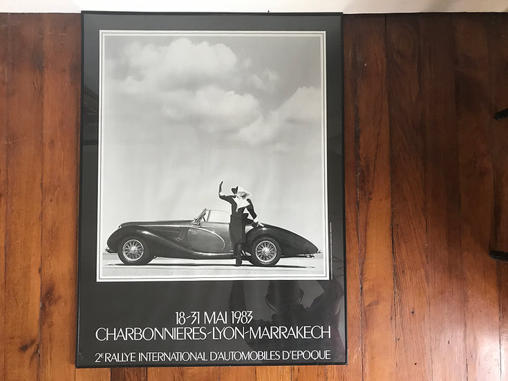 Framed Black & White Poster of Car Rallye 1983