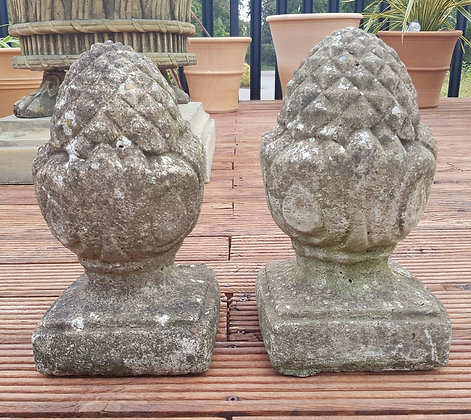 Pair of Stone Pineapple Finials