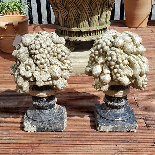 Pair of Cast Stone Fruit Basket Finials
