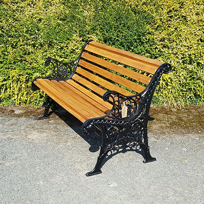 Cast Iron and Oak Bench