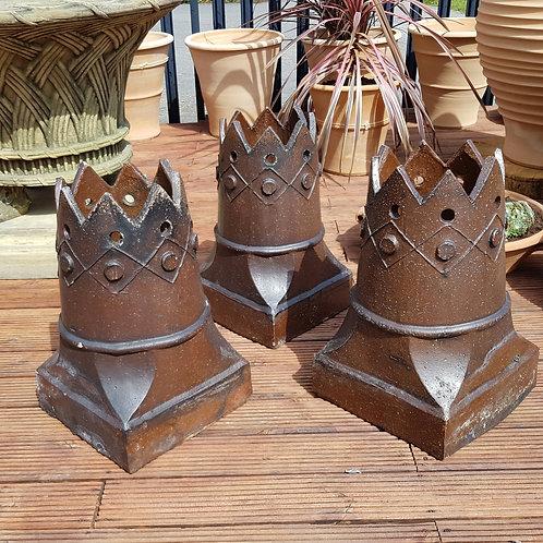 Set of Three Salt-Glazed Chimney Pots