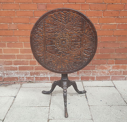 19th Century Folk Art Carved Tilt Top