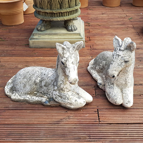 Pair of Cast Stone Foals