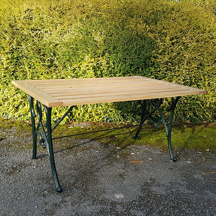 Oak and Cast Iron Garden Table