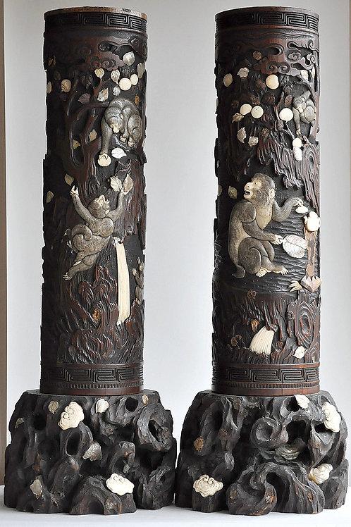 Japon - Ere Meiji 1968-1912 -paire De Vases Aux Singes - Bambou