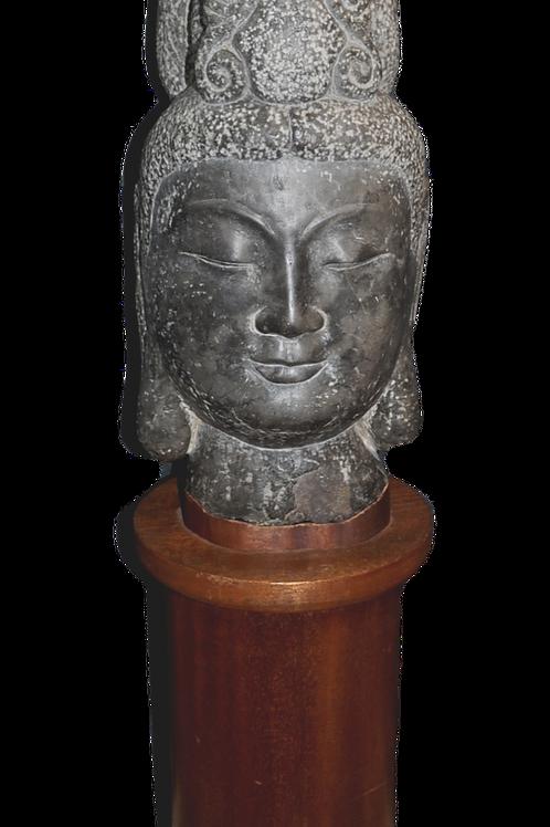 Asie - Sculpture en pierre - Tête de Bouddha sur socle - XXème