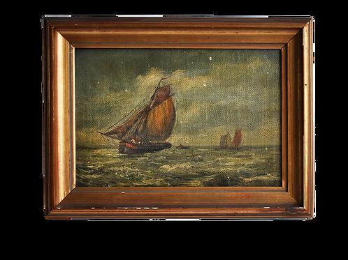 Huile sur toile - Marine - XIXème
