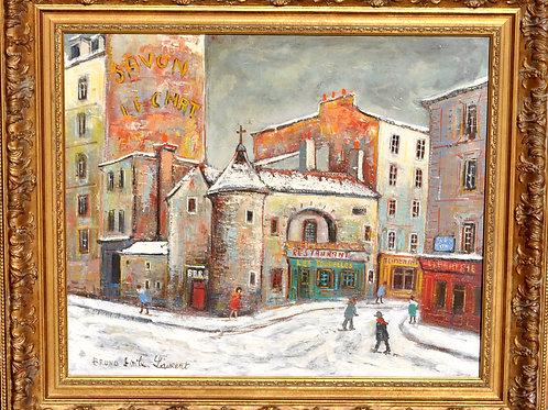 Tableau - Hst - Bruno Emile Laurent - Les Tourelles A Montmartre