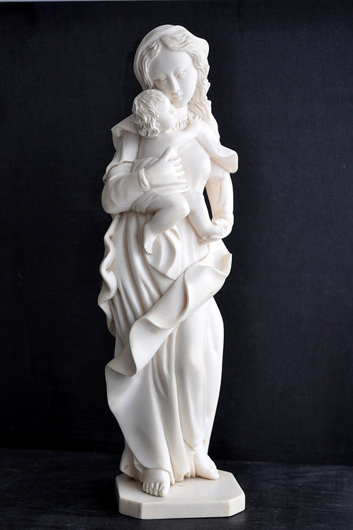 Vierge à l'Enfant - Ivoire Sculptée - Fin XIXème Début XXème