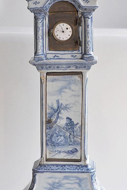 Rare Horloge De Parquet Miniature - Delft Ou école Du Nord - XVIIIème