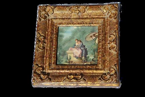 """Grande Miniature sur ivoire """"Les lettres d'Amour"""" - XXème"""