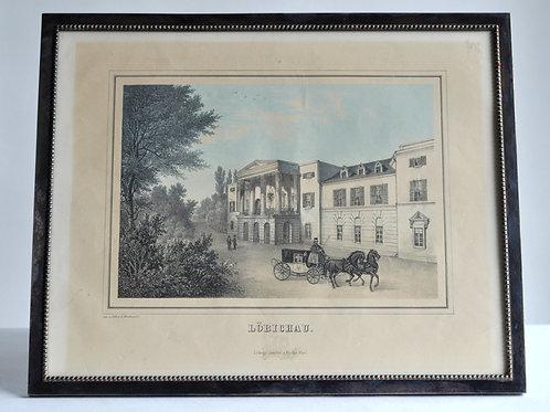 """Lithographie Allemande - """"Lobichau"""" - XIXème"""