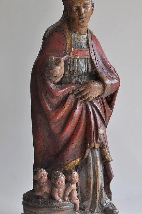 Sculpture - Statue en bois polychrome - Saint Nicolas - Circa 1880